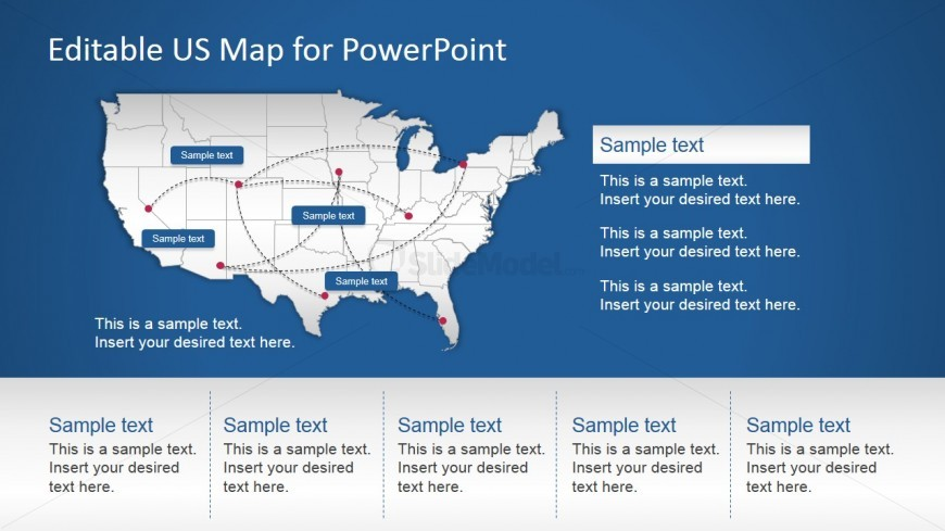 Editable PPT Map of US