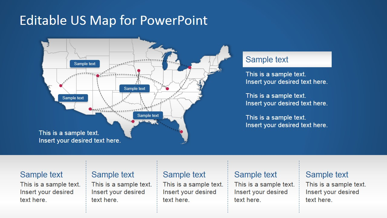 Picture of: Us Powerpoint Map With Routes Slidemodel
