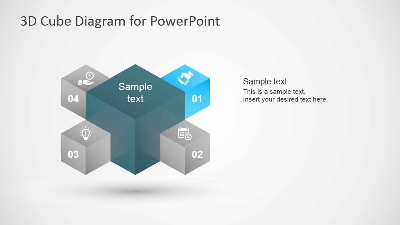 3d cube diagram template for powerpoint - slidemodel, Modern powerpoint