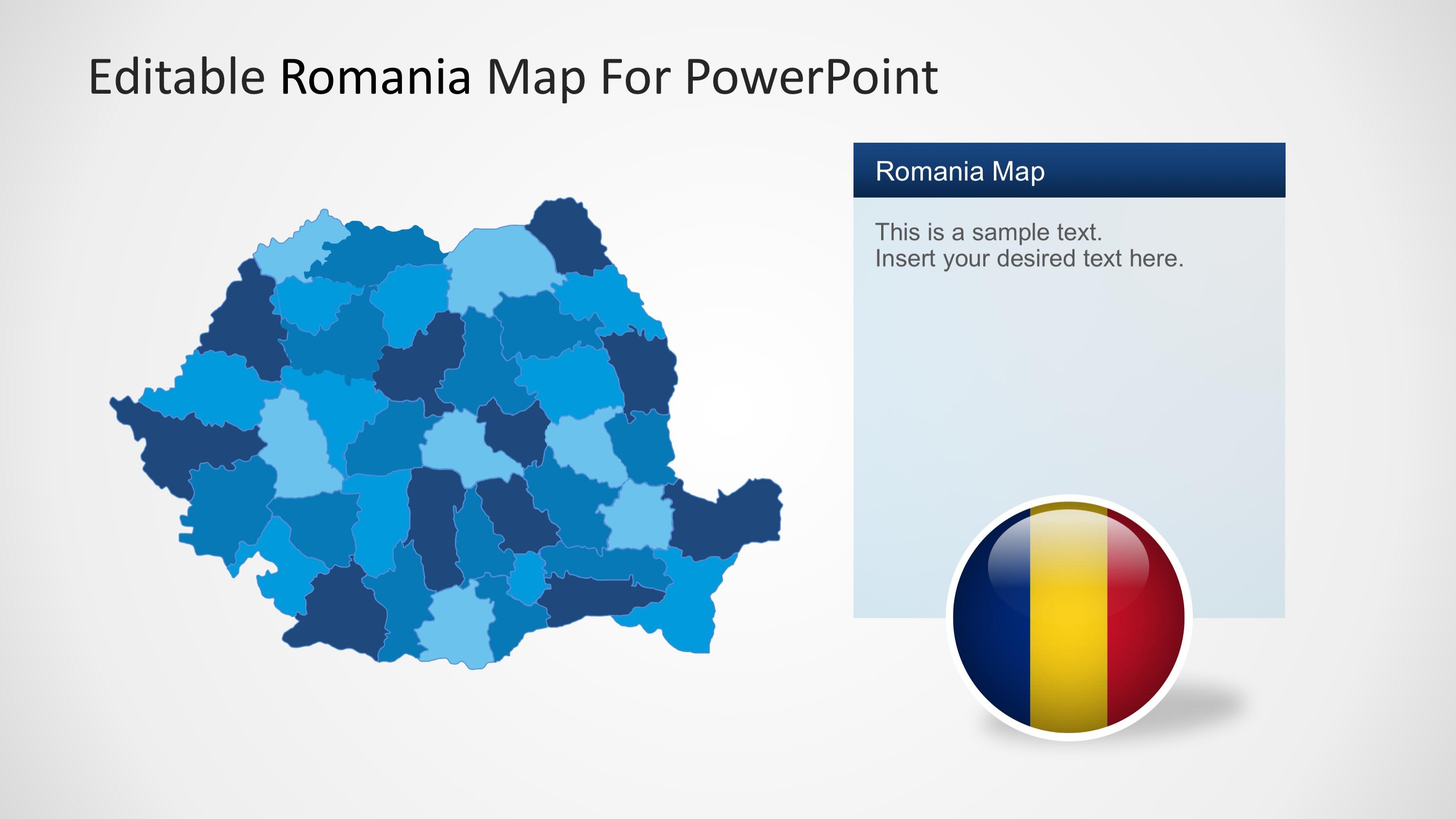 Editable Romania Powerpoint Map Slidemodel
