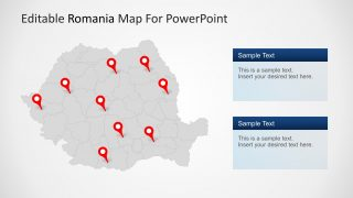 PPT Map of Romania GRey Background