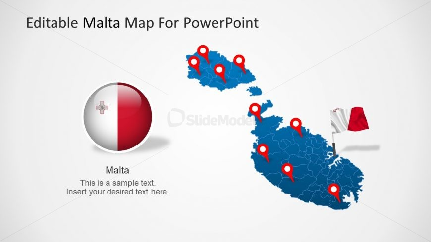 County Map with Flag in PowerPoint
