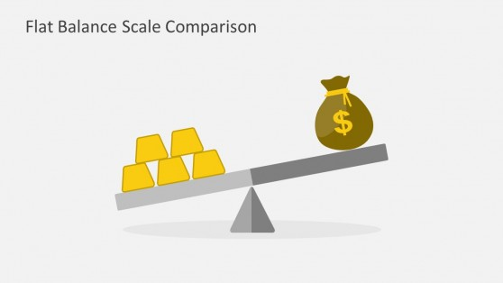 Flat Balance Scale Comparison Gold and Money