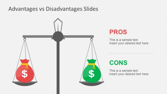 Pros And Cons Scale Comparison with Money Sign for PowerPoint