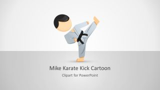 Mike Karate Cartoon Character for PowerPoint
