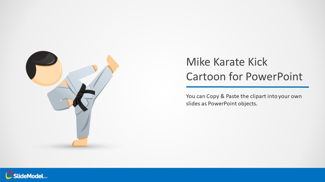 mike karate cartoon character for powerpoint - slidemodel, Presentation templates