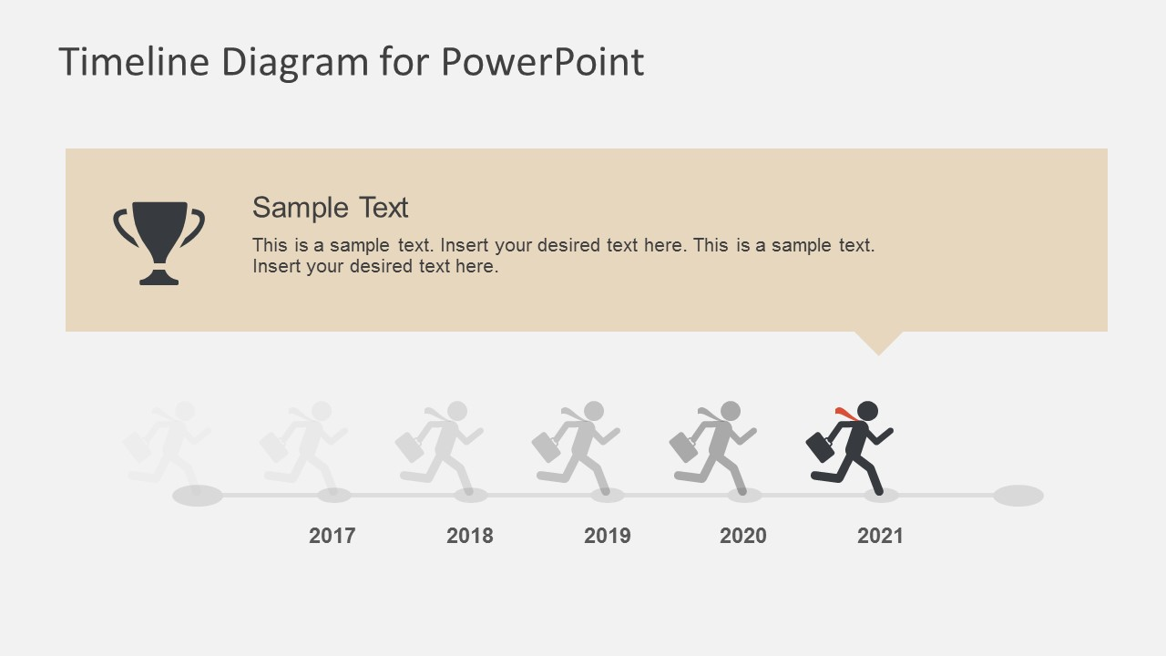 business character running powerpoint timeline