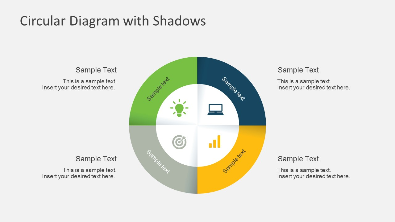 4 Steps Circular Diagram Shadows Process Templates