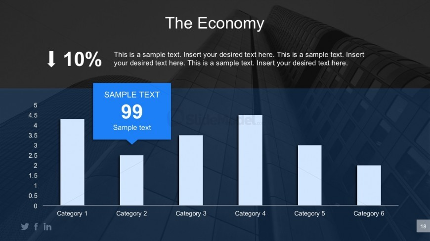 6 Categories Bar Graph PowerPoint Illustration