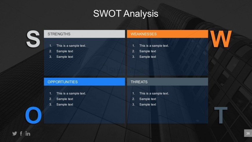 Cool SWOT Analysis PowerPoint Table Illustration