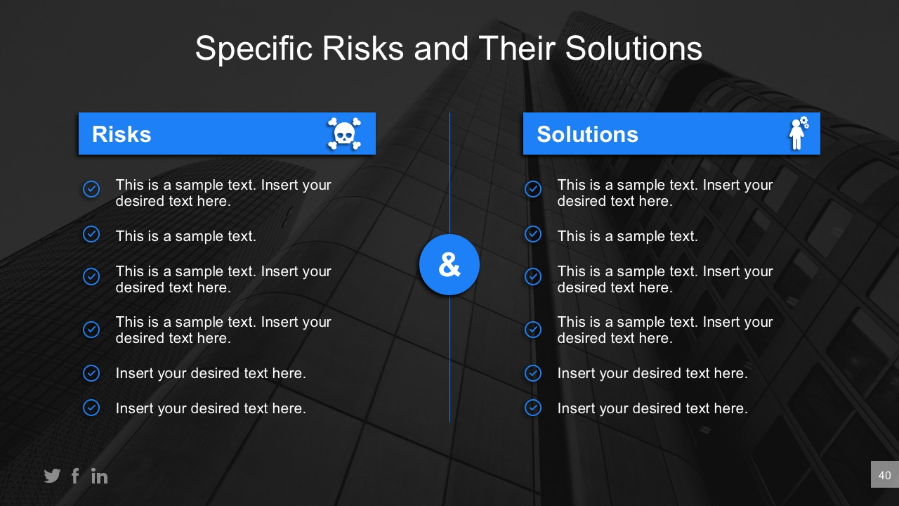 Business Risk Comparative Table For PowerPoint