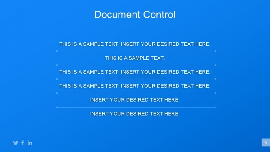 Business Plan Document Control PowerPoint