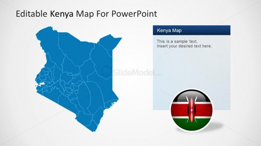 PowerPoint Map and Icon Flag of Kenya