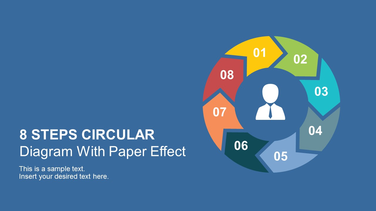 8 steps circular chevron paper effect powerpoint template