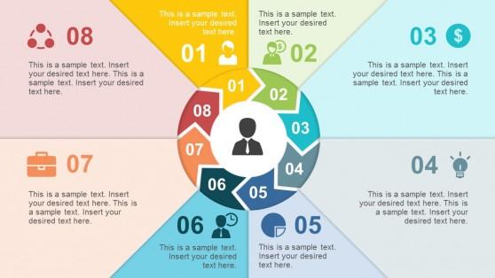 8 Steps Chevron Paper Effect PowerPoint Diagrams