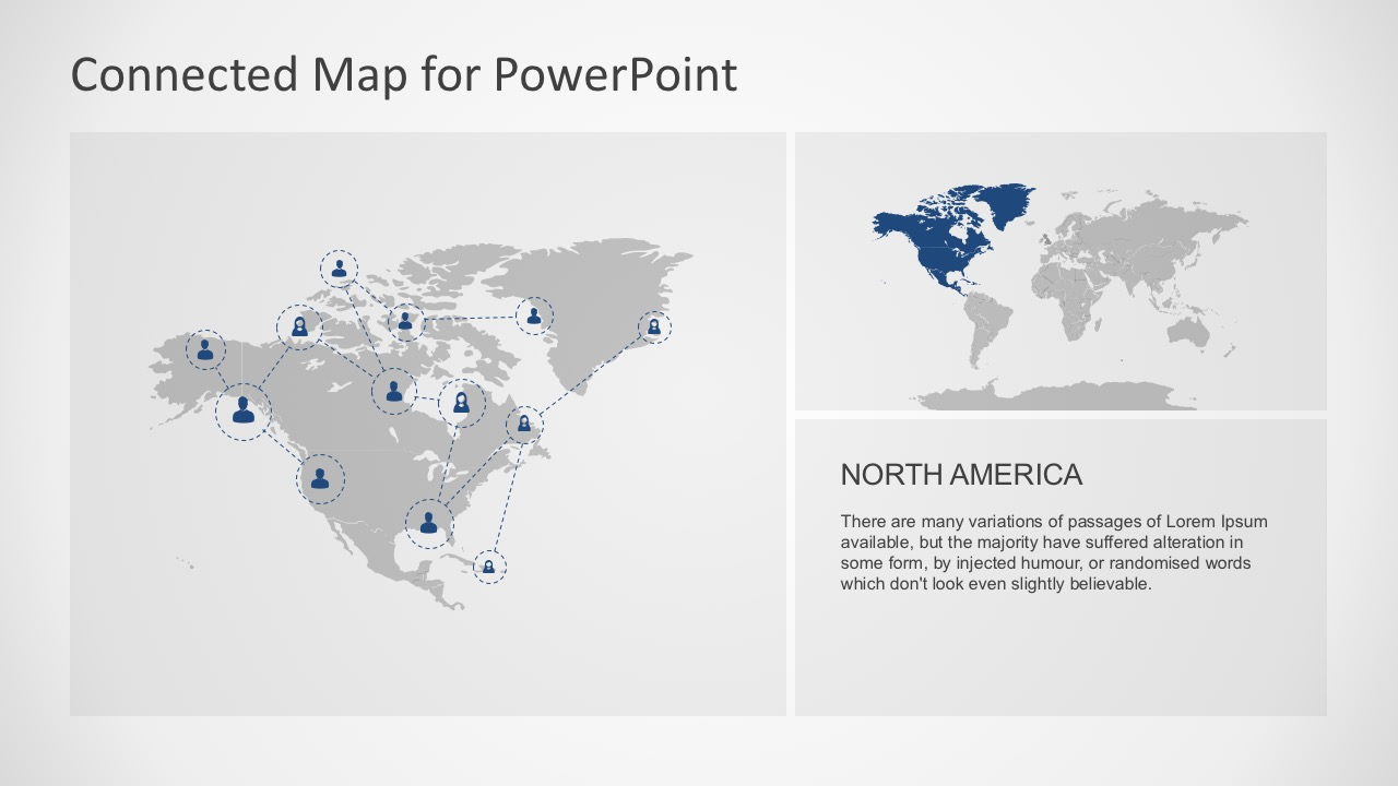 Connected map powerpoint template powerpoint continental map for north america toneelgroepblik Image collections