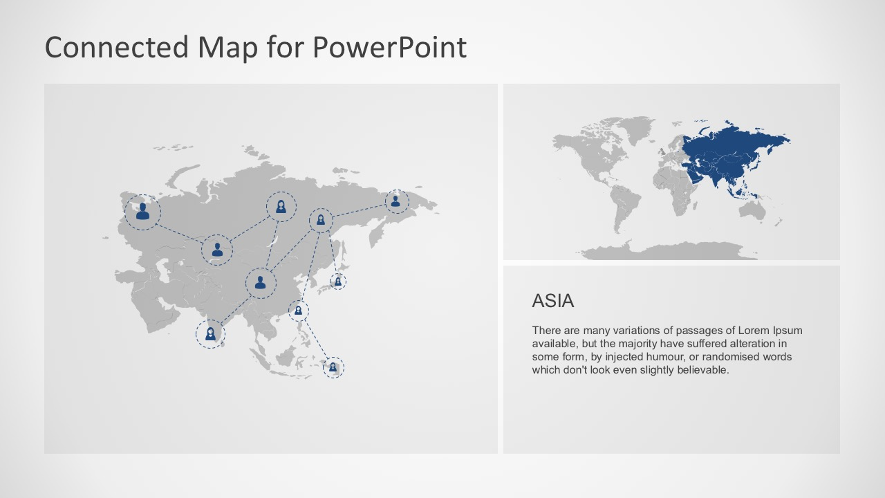 Connected map powerpoint template asia largest continent map powerpoint slides gumiabroncs Image collections