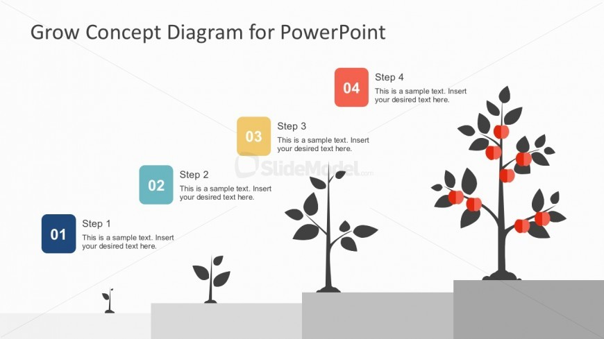 4 Steps Business Growth Tree Diagram Powerpoint - Slidemodel