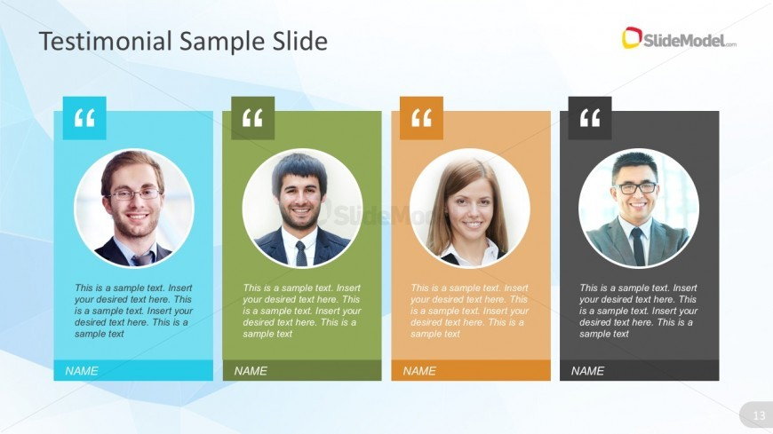 4 Columns Product Testimonials Powerpoint Graphics