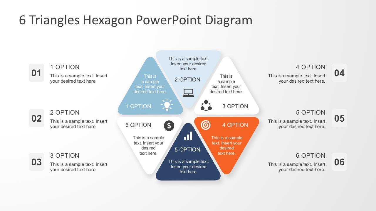 Six Steps Triangle Hexagon Powerpoint Diagram