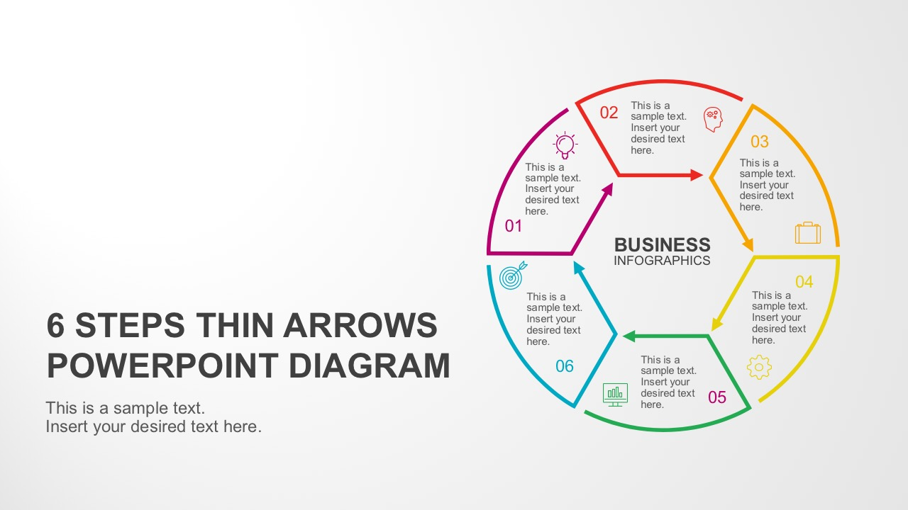 6 steps circular thin arrows powerpoint diagram ccuart Images