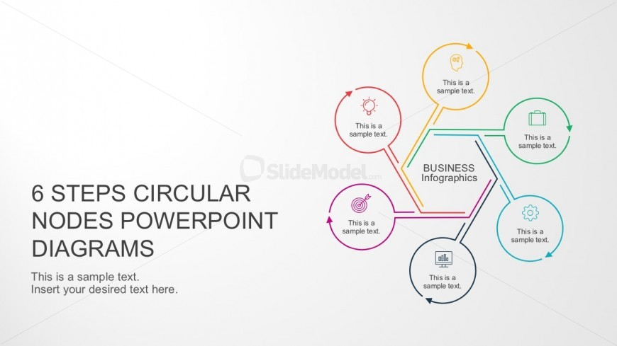 6 Steps Circular Nodes PowerPoint Cover Slide