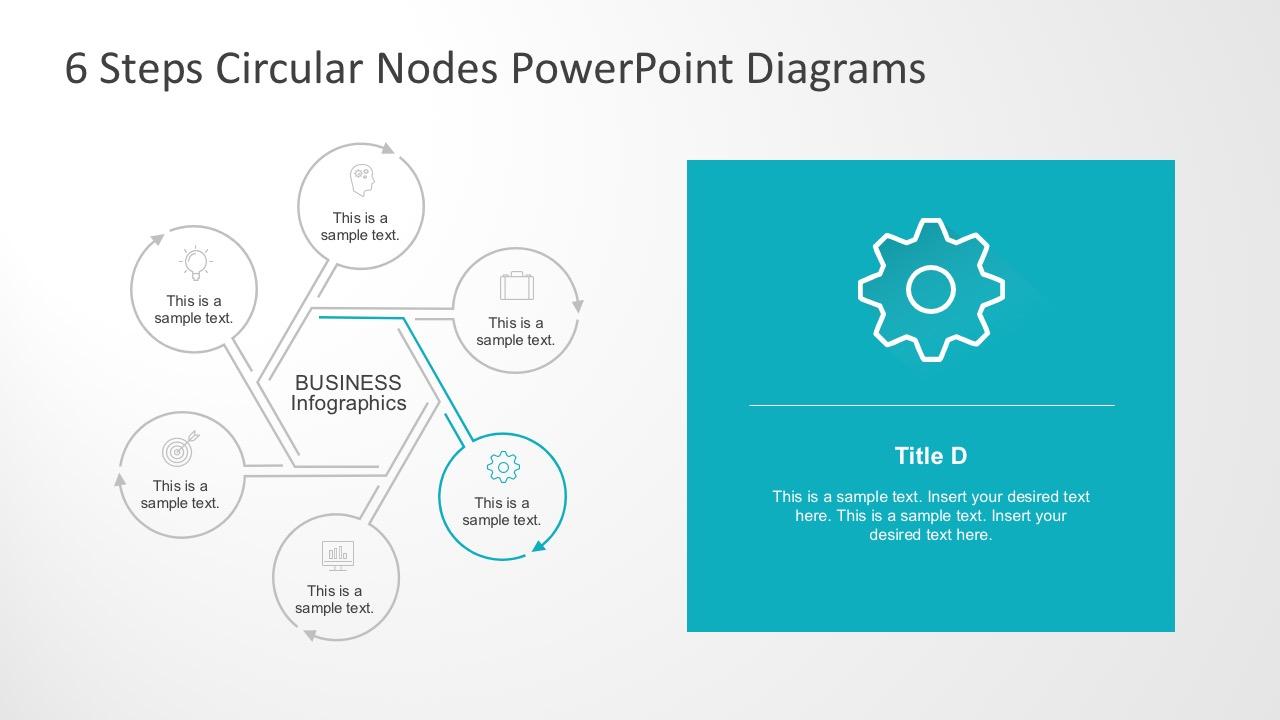 6 Steps Circular Nodes Powerpoint Diagrams