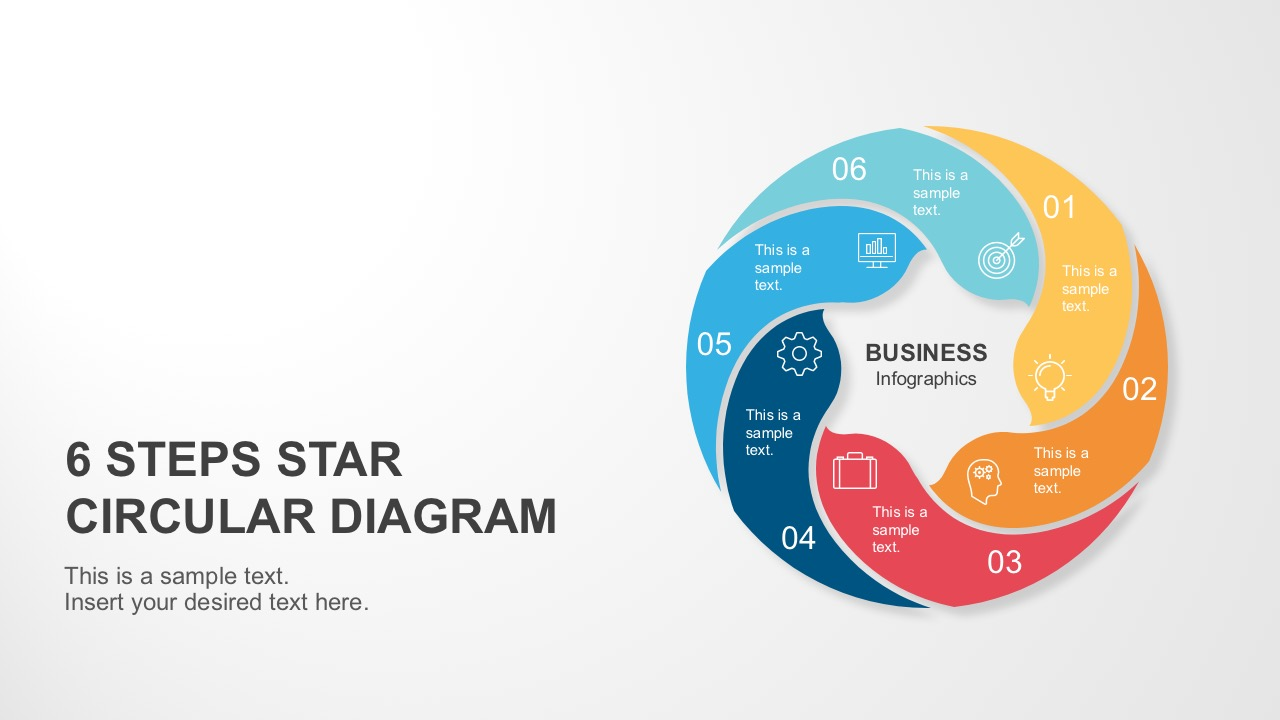 6 Steps Circle Star Diagram Template for PowerPoint