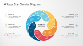 6 Steps Star Circular Flat Diagram PowerPoint