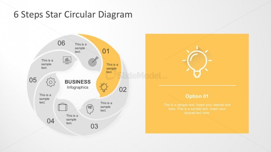 Editable 6 Steps Star Circular Diagram