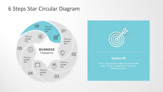 Cycle Process Diagram In Six Steps PowerPoint