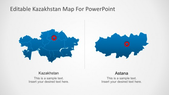 Kazakhstan Powerpoint Map with Cities and Division
