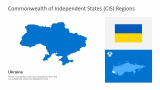 Ukraine Country Map with Editable Flag