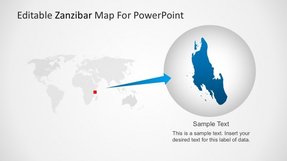 Map of Zanzibar with PowerPoint World Map