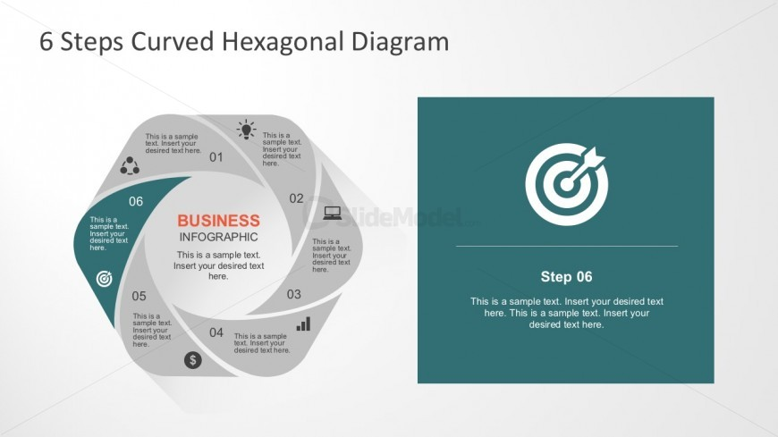 6 Steps Flower Diagram Template for PowerPoint