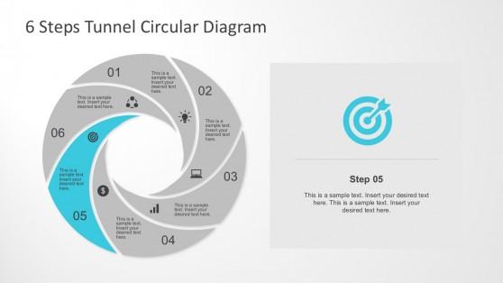 6 Steps Shutter Shape PowerPoint Diagram