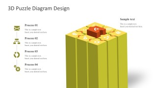 3D Process Chart For PowerPoint Slides
