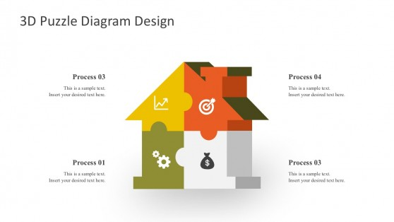 House Puzzle Diagrams Design PowerPoint Shapes