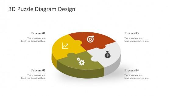 3D Puzzle Diagrams PowerPoint Shapes