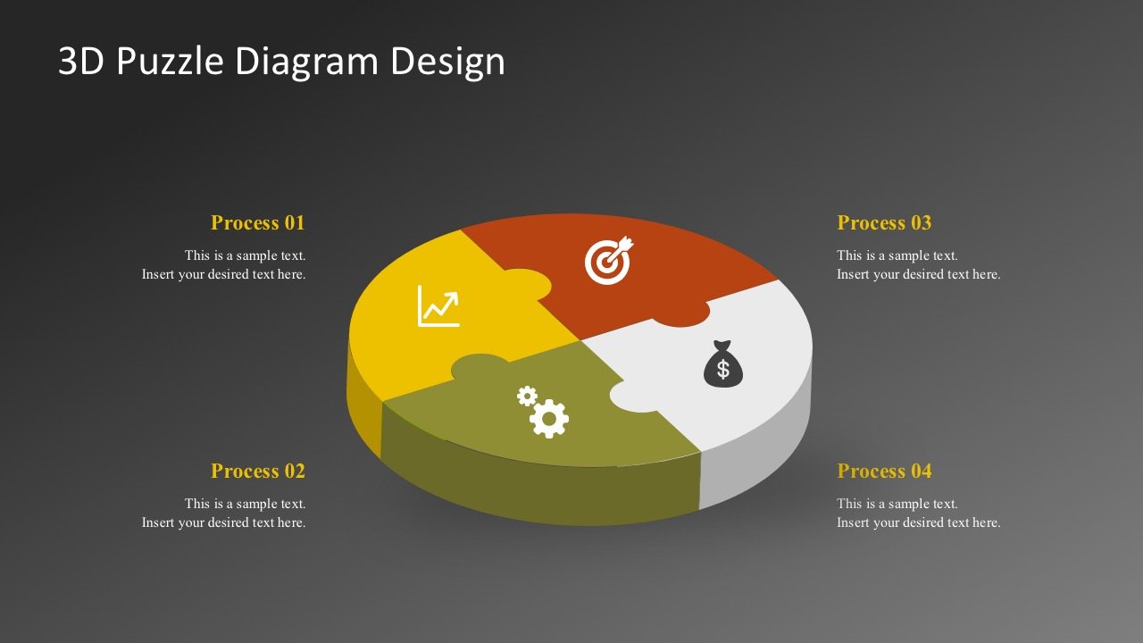 3D Puzzle Diagram PowerPoint Templates