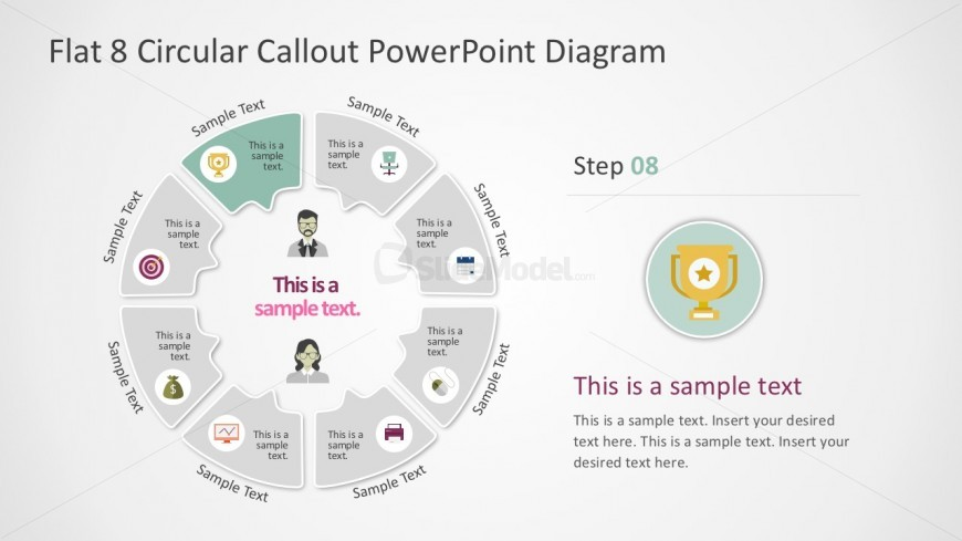 Editable Circle Chart with 8 Steps Process Diagrams