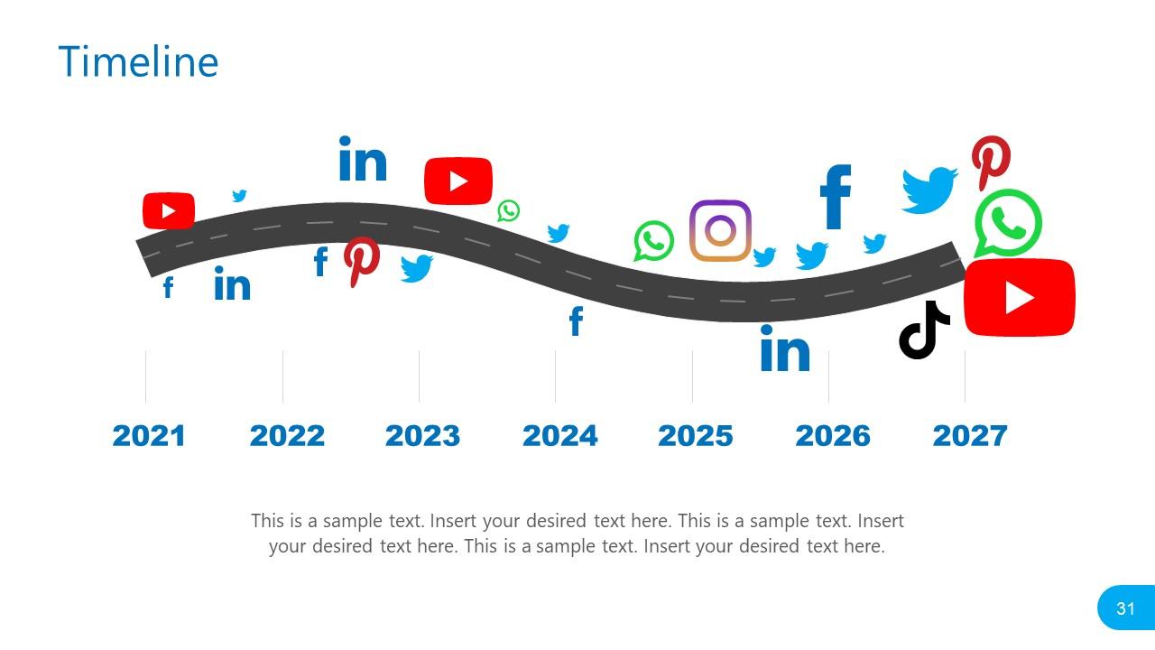 PowerPoint Social Media Report Timeline