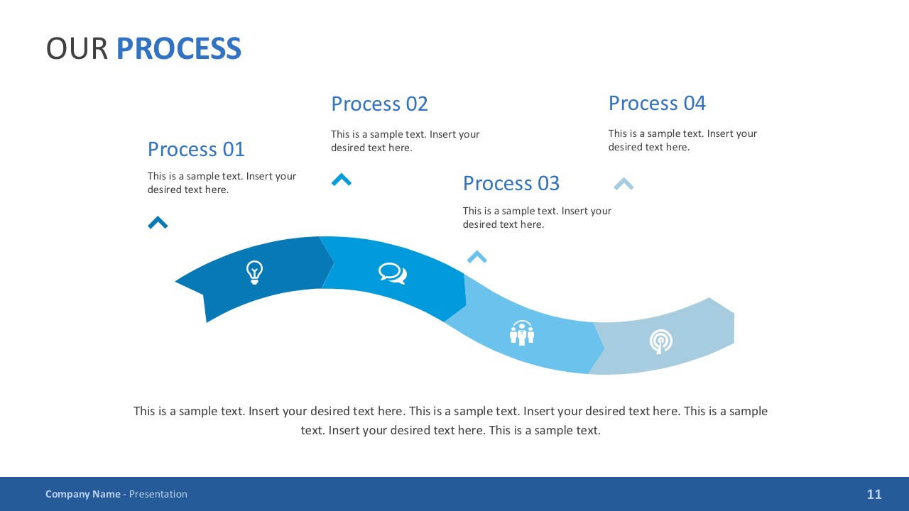 4 Steps Process Slides with Clip Arts