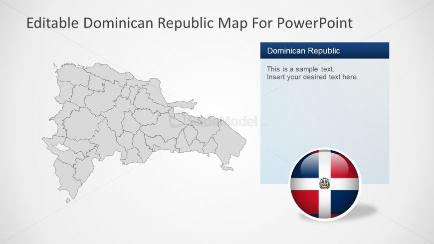 Grey Map with Flag PowerPoint Shape