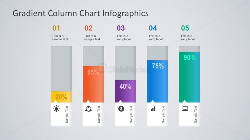 5-Steps Percentage Column Chart PowerPoint Charts