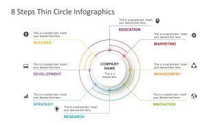 Eight Steps Thin Circle Infographics Slides