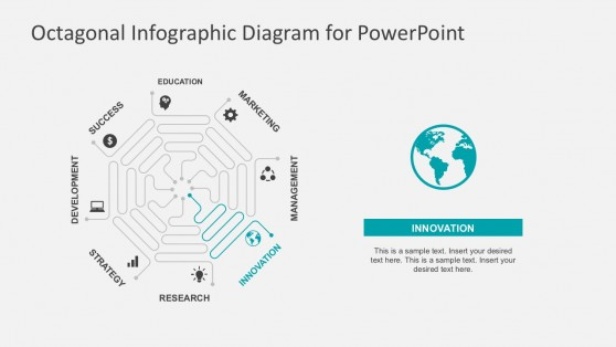 Octagonal Flow Chart PowerPoint Template Slides