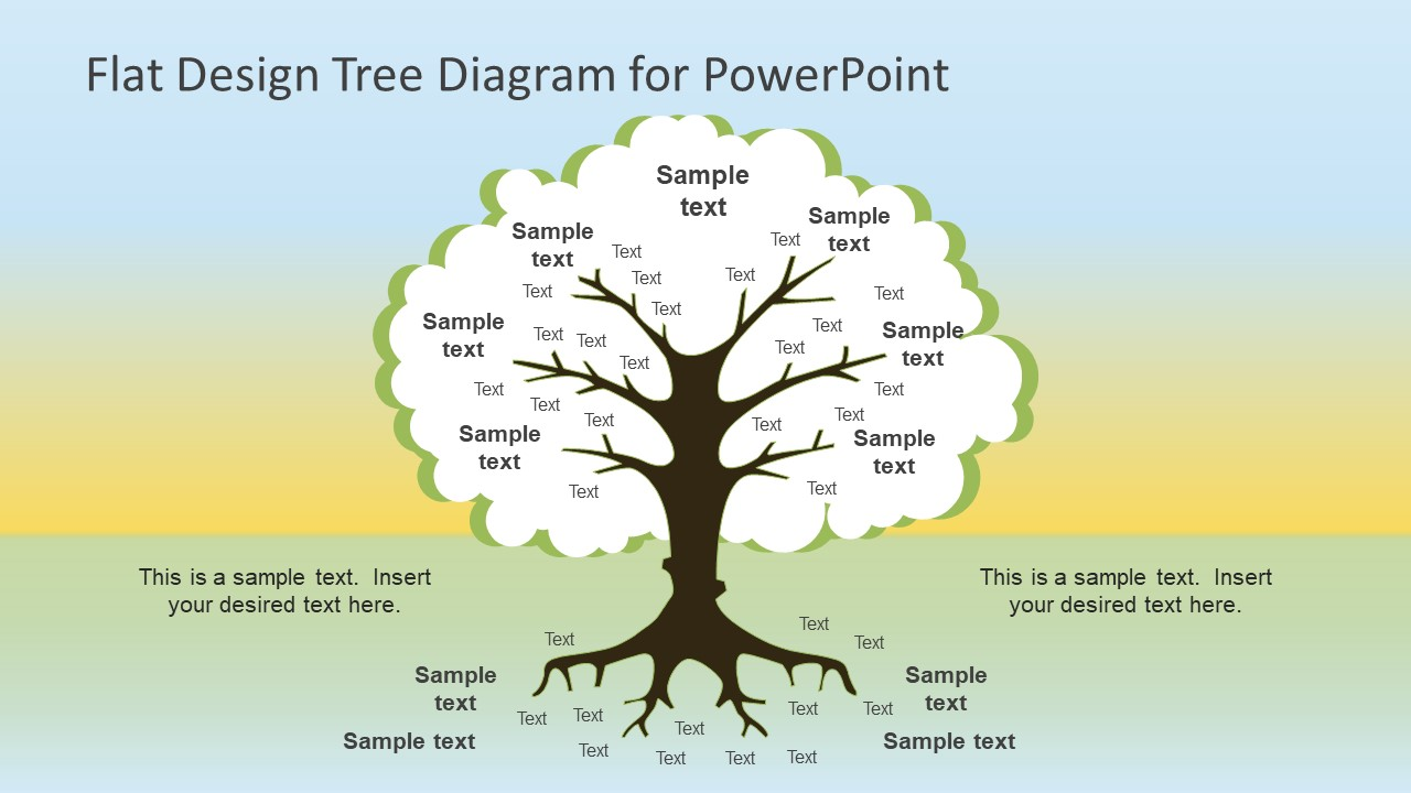flat design roots tree powerpoint diagram slidemodel
