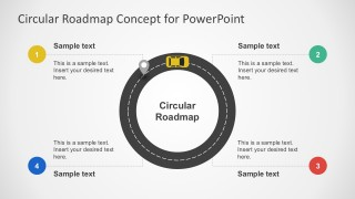Success Roadmap Car Shapes PowerPoint