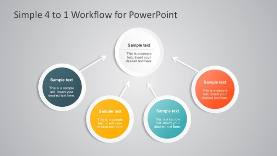 Clean 4-to-1 Workflow Process Diagrams PowerPoint